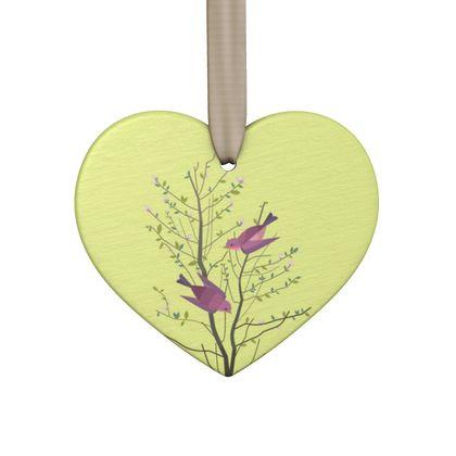 Hand Made Flat Ornaments- Emmeline Anne Birds On a Branch Lemon