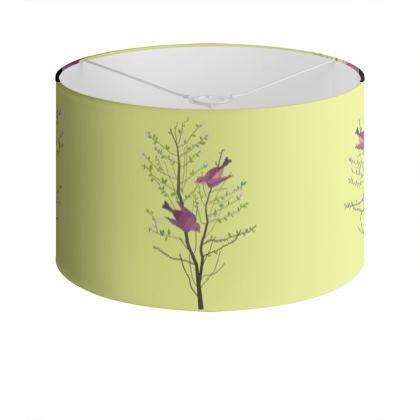 Drum Lamp Shade- Emmeline Anne Birds On a Branch Lemon