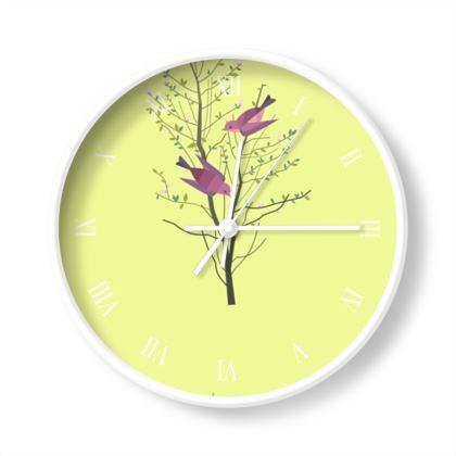 Wall Clocks- Emmeline Anne Birds On a Branch Lemon