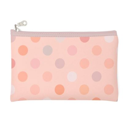 Silky dots - Zip Top Pouch - Peach polka dot, powdery pink, feminine vintage, girly, baby, kids lovely gift - design by Tiana Lofd