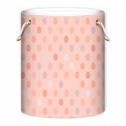 Silky dots - Laundry Bag - Peach polka dot, powdery pink, feminine vintage, girly, baby, kids lovely gift - design by Tiana Lofd
