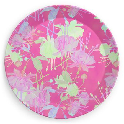 Party Plates [x 4 shown] Pink, Yellow, Floral  Fuchsias  Cherry Cake