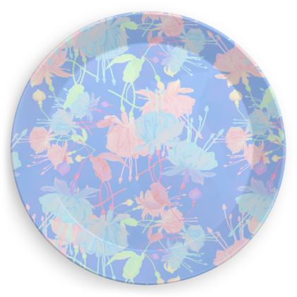 Party Plates [x4 shown] Blue, Pink, Floral  Fuchsias  Baby Blue