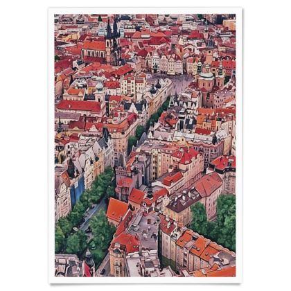 Historic centre of Prague UNESCO site - Paper Poster