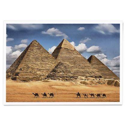 Egypt Pyramids of Giza UNESCO site - Paper Poster