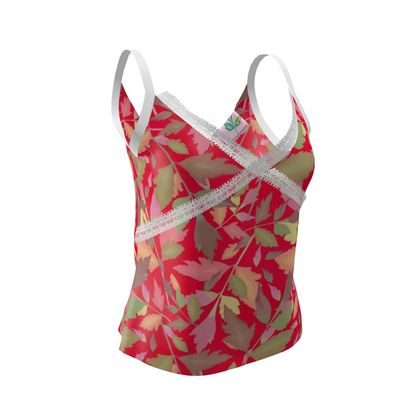Cami Red, Green,  Botanical  Cathedral Leaves  Muse