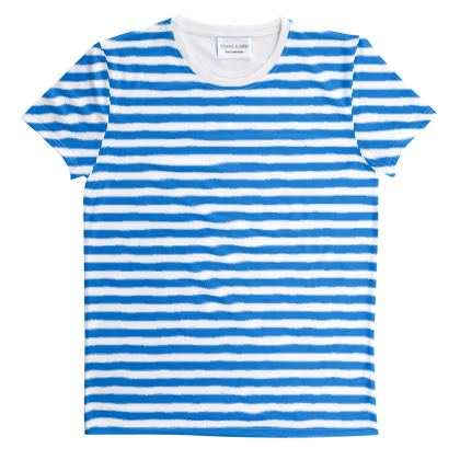 Vacation by the sea - Cut And Sew All Over Print T Shirt - Horizontally striped, white and blue stripes, marine, resort, coast, beach, classic, elegant gift, seaside vacation, sea, maritime - Design by Tiana Lofd
