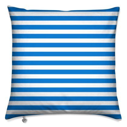 Vacation by the sea - Cushions - Horizontally striped, white and blue stripes, marine, resort, coast, beach, classic, elegant gift, seaside vacation, sea, maritime - Design by Tiana Lofd