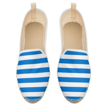 Vacation by the sea - Loafer Espadrilles - Horizontally striped, white and blue stripes, marine, resort, coast, beach, classic, elegant gift, seaside vacation, sea, maritime - Design by Tiana Lofd
