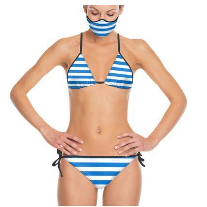 Vacation by the sea - Trikini - Horizontally striped, white and blue stripes, marine, resort, coast, beach, classic, elegant gift, seaside vacation, sea, maritime - Design by Tiana Lofd