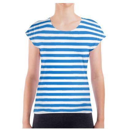 Vacation by the sea - Ladies T Shirt - Horizontally striped, white and blue stripes, marine, resort, coast, beach, classic, elegant gift, seaside vacation, sea, maritime - design by Tiana Lofd