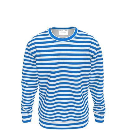 Vacation by the sea - Sweatshirt - Horizontally striped, white and blue stripes, marine, resort, coast, beach, classic, elegant gift, seaside vacation, sea, maritime - design by Tiana Lofd