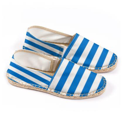 Vacation by the sea - Espadrilles - Horizontally striped, white and blue stripes, marine, resort, coast, beach, classic, elegant gift, seaside vacation, sea, maritime - design by Tiana Lofd