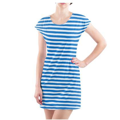 Vacation by the sea - Ladies Tunic T Shirt - Horizontally striped, white and blue stripes, marine, resort, coast, beach, classic, elegant gift, seaside vacation, sea, maritime - design by Tiana Lofd