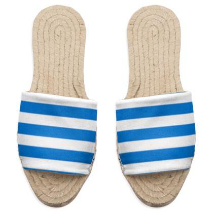 Vacation by the sea - Sandal Espadrilles - Horizontally striped, white and blue stripes, marine, resort, coast, beach, classic, elegant gift, seaside vacation, sea, maritime - design by Tiana Lofd