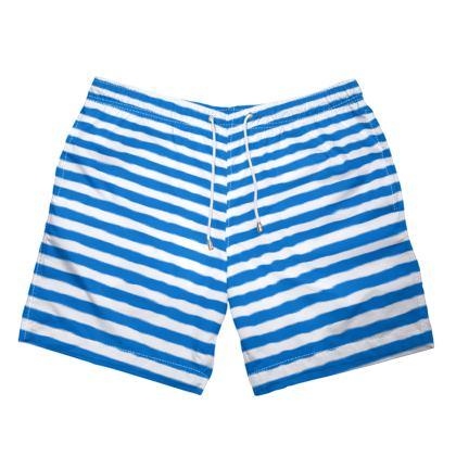Vacation by the sea - Mens Swimming Shorts - Horizontally striped, white and blue stripes, marine, resort, coast, beach, classic, elegant gift, seaside vacation, sea, maritime - design by Tiana Lofd