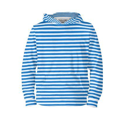 Vacation by the sea - Hoodie - Horizontally striped, white and blue stripes, marine, resort, coast, beach, classic, elegant gift, seaside vacation, sea, maritime - design by Tiana Lofd