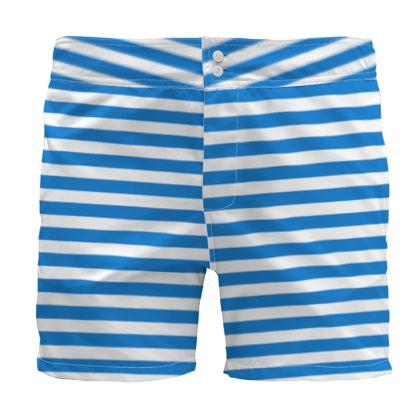 Vacation by the sea - Board Shorts - Horizontally striped, white and blue stripes, marine, resort, coast, beach, classic, elegant gift, seaside vacation, sea, maritime - design by Tiana Lofd