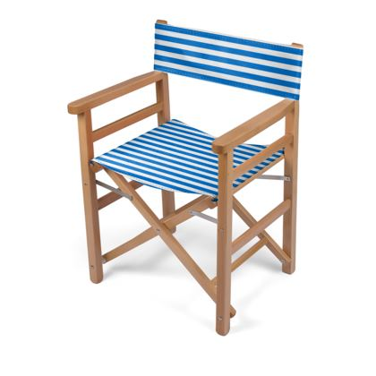 Vacation by the sea - Directors Chair - Horizontally striped, white and blue stripes, marine, resort, coast, beach, classic, elegant gift, seaside vacation, sea, maritime - design by Tiana Lofd