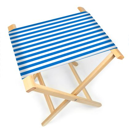 Vacation by the sea - Folding Stool Chair - Horizontally striped, white and blue stripes, marine, resort, coast, beach, classic, elegant gift, seaside vacation, sea, maritime - design by Tiana Lofd