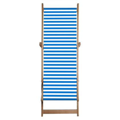 Vacation by the sea - Deckchair - Horizontally striped, white and blue stripes, marine, resort, coast, beach, classic, elegant gift, seaside vacation, sea, maritime - design by Tiana Lofd