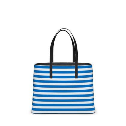 Vacation by the sea - Kika Tote - Horizontally striped, white and blue stripes, marine, resort, coast, beach, classic, elegant gift, seaside vacation, sea, maritime - design by Tiana Lofd