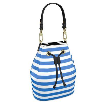 Vacation by the sea - Bucket Bag - Horizontally striped, white and blue stripes, marine, resort, coast, beach, classic, elegant gift, seaside vacation, sea, maritime - design by Tiana Lofd