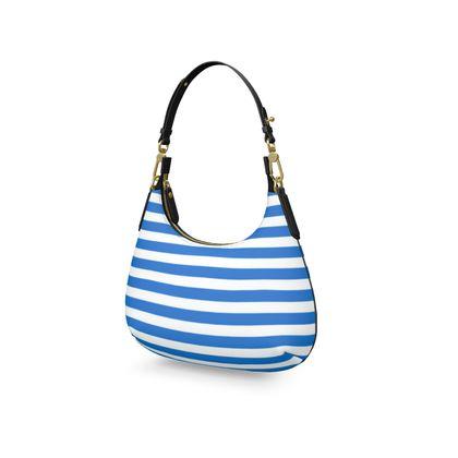 Vacation by the sea - Mini Curve Bag - Horizontally striped, white and blue stripes, marine, resort, coast, beach, classic, elegant gift, seaside vacation, sea, maritime - design by Tiana Lofd