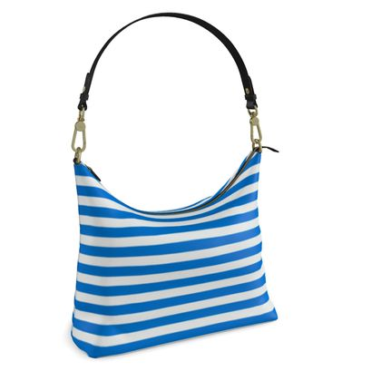 Vacation by the sea - Square Hobo Bag - Horizontally striped, white and blue stripes, marine, resort, coast, beach, classic, elegant gift, seaside vacation, sea, maritime - design by Tiana Lofd