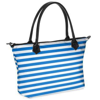 Vacation by the sea - Zip Top Handbag - Horizontally striped, white and blue stripes, marine, resort, coast, beach, classic, elegant gift, seaside vacation, sea, maritime - design by Tiana Lofd