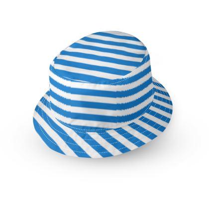 Vacation by the sea - Bucket Hat - Horizontally striped, white and blue stripes, marine, resort, coast, beach, classic, elegant gift, seaside vacation, sea, maritime - design by Tiana Lofd