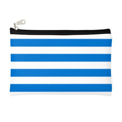 Vacation by the sea - Zip Top Pouch - Horizontally striped, white and blue stripes, marine, resort, coast, beach, classic, elegant gift, seaside vacation, sea, maritime - design by Tiana Lofd