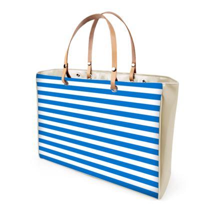 Vacation by the sea - Handbags - Horizontally striped, white and blue stripes, marine, resort, coast, beach, classic, elegant gift, seaside vacation, sea, maritime - design by Tiana Lofd