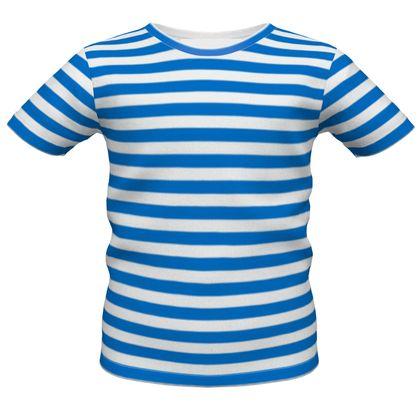 Vacation by the sea - Boys Premium T-Shirt - Horizontally striped, white and blue stripes, marine, resort, coast, beach, classic, elegant gift, seaside vacation, sea, maritime - design by Tiana Lofd