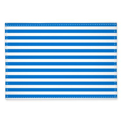 Vacation by the sea - Fabric Placemats - Horizontally striped, white and blue stripes, marine, resort, coast, beach, classic, elegant gift, seaside vacation, sea, maritime - design by Tiana Lofd