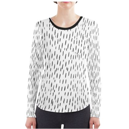 Raining Opportunities Ladies Long Sleeve Shirt in Black and White