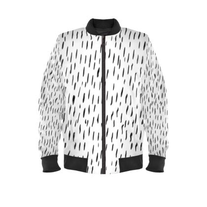 Raining Opportunities Ladies Bomber Jacket in Black and White