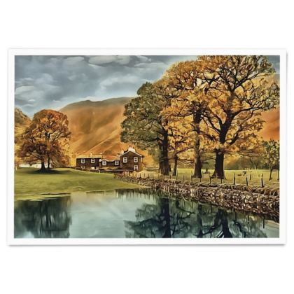 English Countryside Lake in fall - Paper Poster