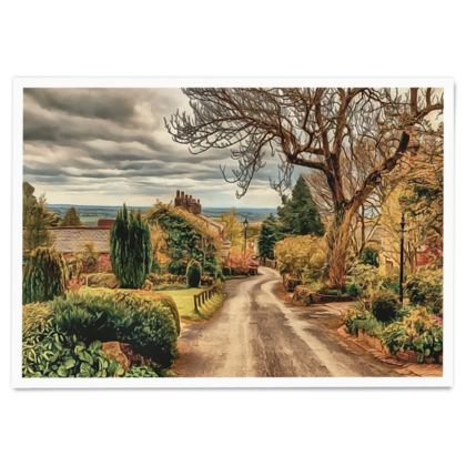 Countryside Village Street in fall - Paper Poster