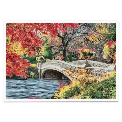 Romantic bridge on the lake - Paper Poster