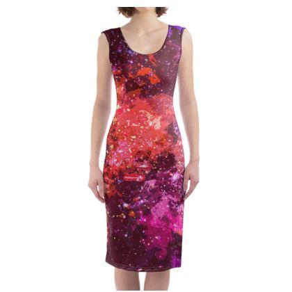 Bodycon Dress - Red Nebula Galaxy Abstract