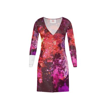 Short Ladies Cardigan - Red Nebula Galaxy Abstract