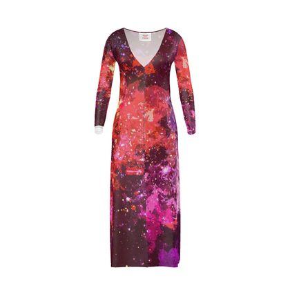 Long Ladies Cardigan - Red Nebula Galaxy Abstract