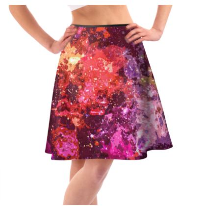 Knee-Length Flared Skirt - Red Nebula Galaxy Abstract