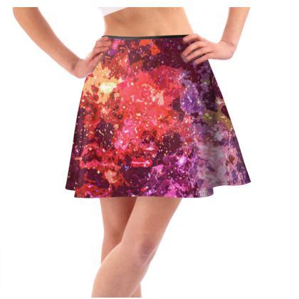 Short Flared Skirt - Red Nebula Galaxy Abstract