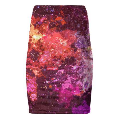 Pencil Skirt - Red Nebula Galaxy Abstract