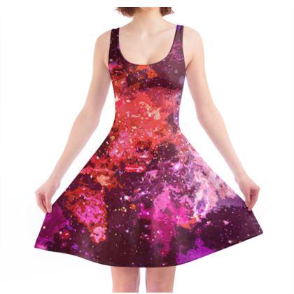 Skater Dress - Red Nebula Galaxy Abstract