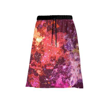 Midi Skirt - Red Nebula Galaxy Abstract