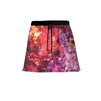 Mini Skirt - Red Nebula Galaxy Abstract
