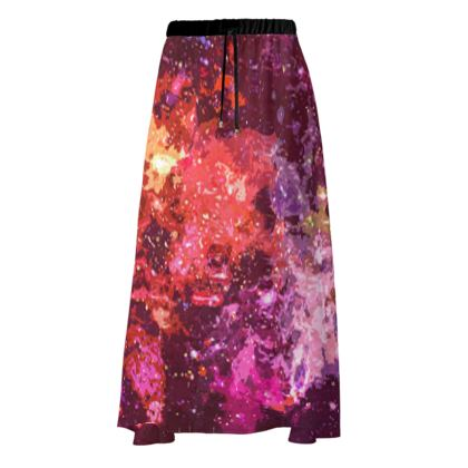 Maxi Skirt - Red Nebula Galaxy Abstract